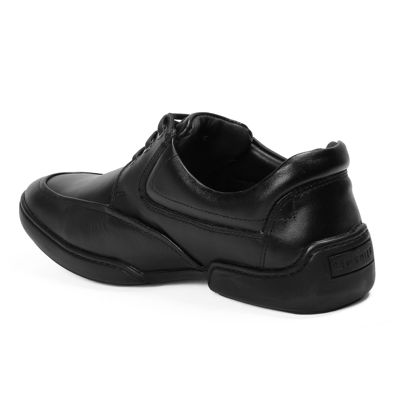 black casual leather shoes from behind
