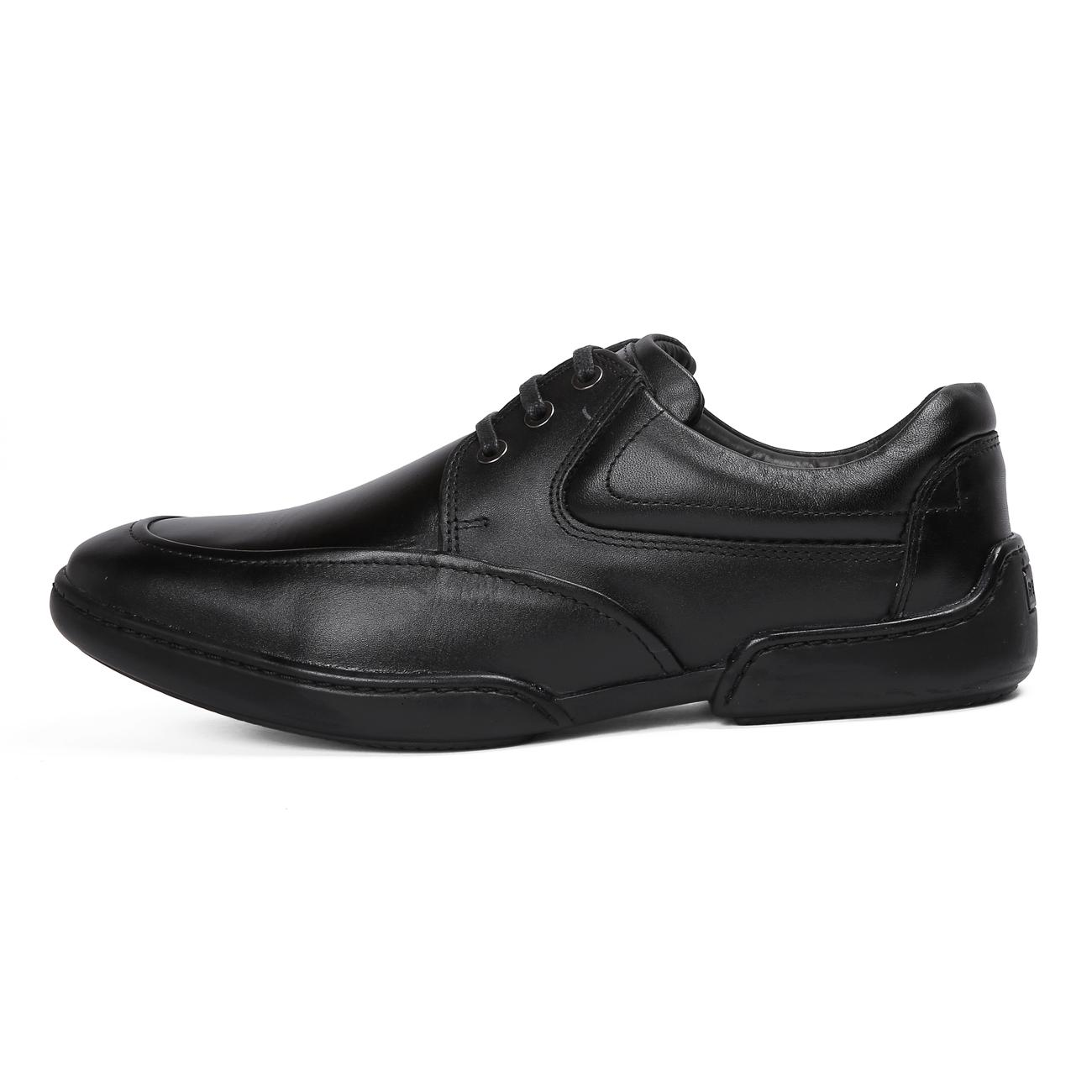 black casual leather shoes rubber sole