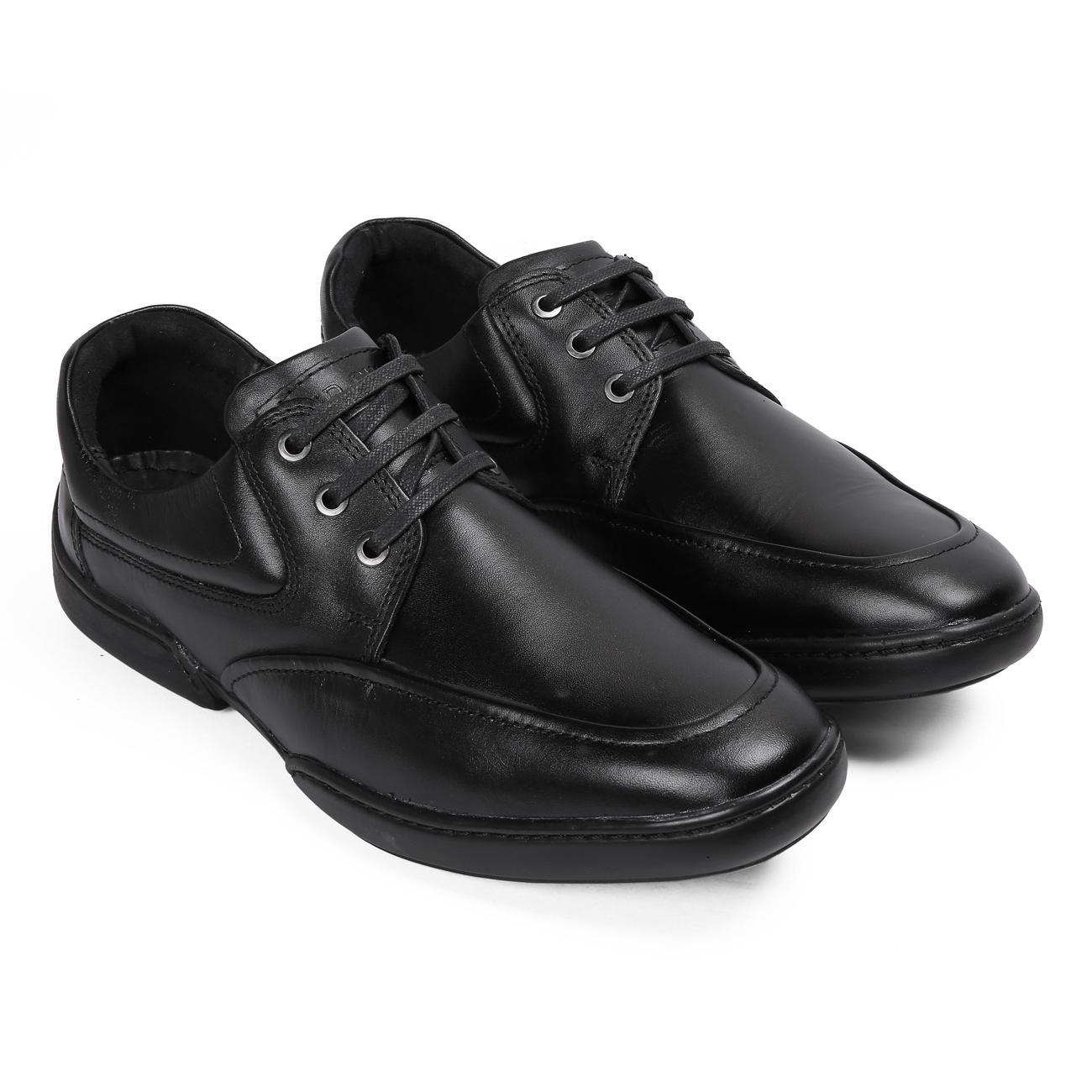 black original leather shoes
