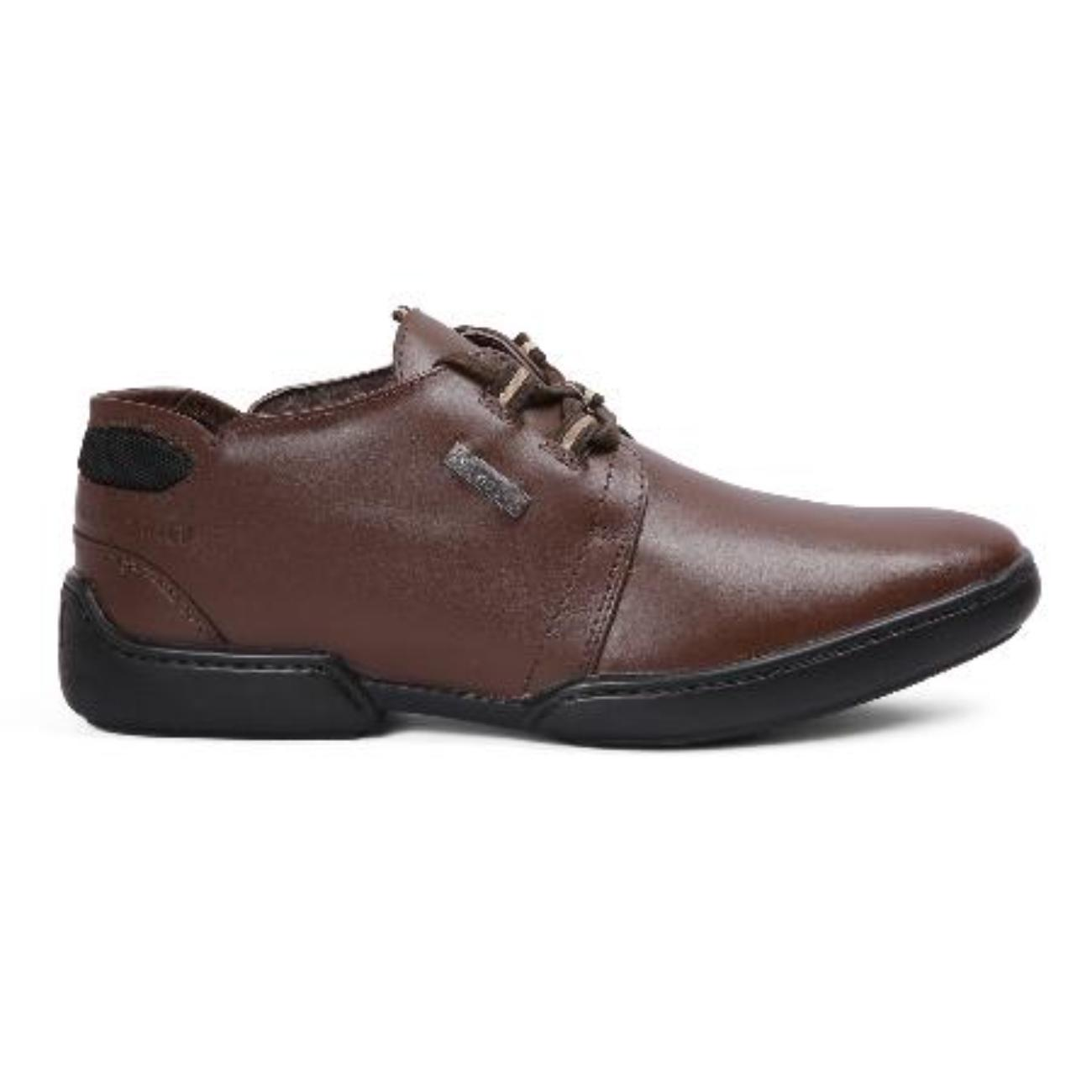 buy brown casual leather shoes side view_1