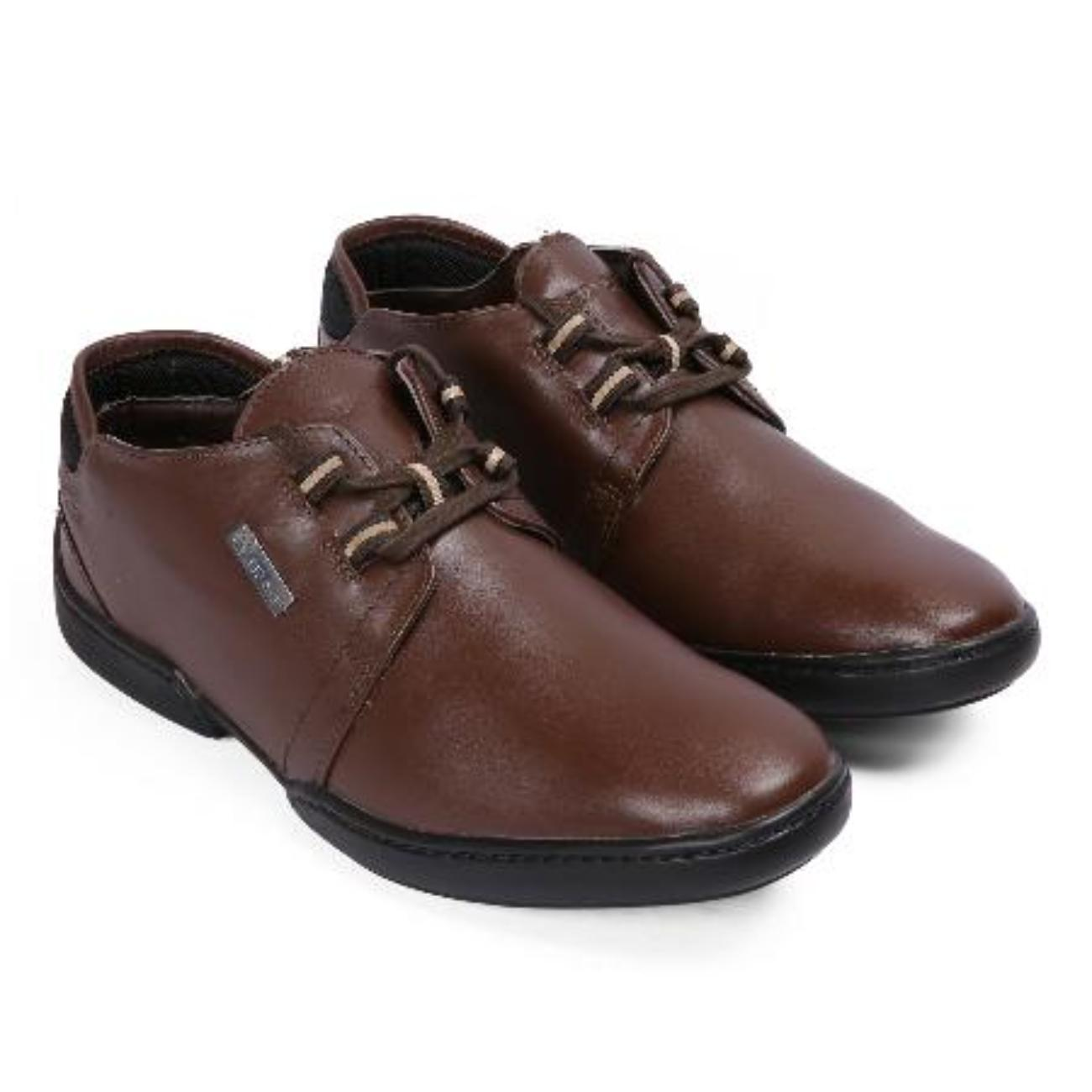 brown casual leather shoes from behind