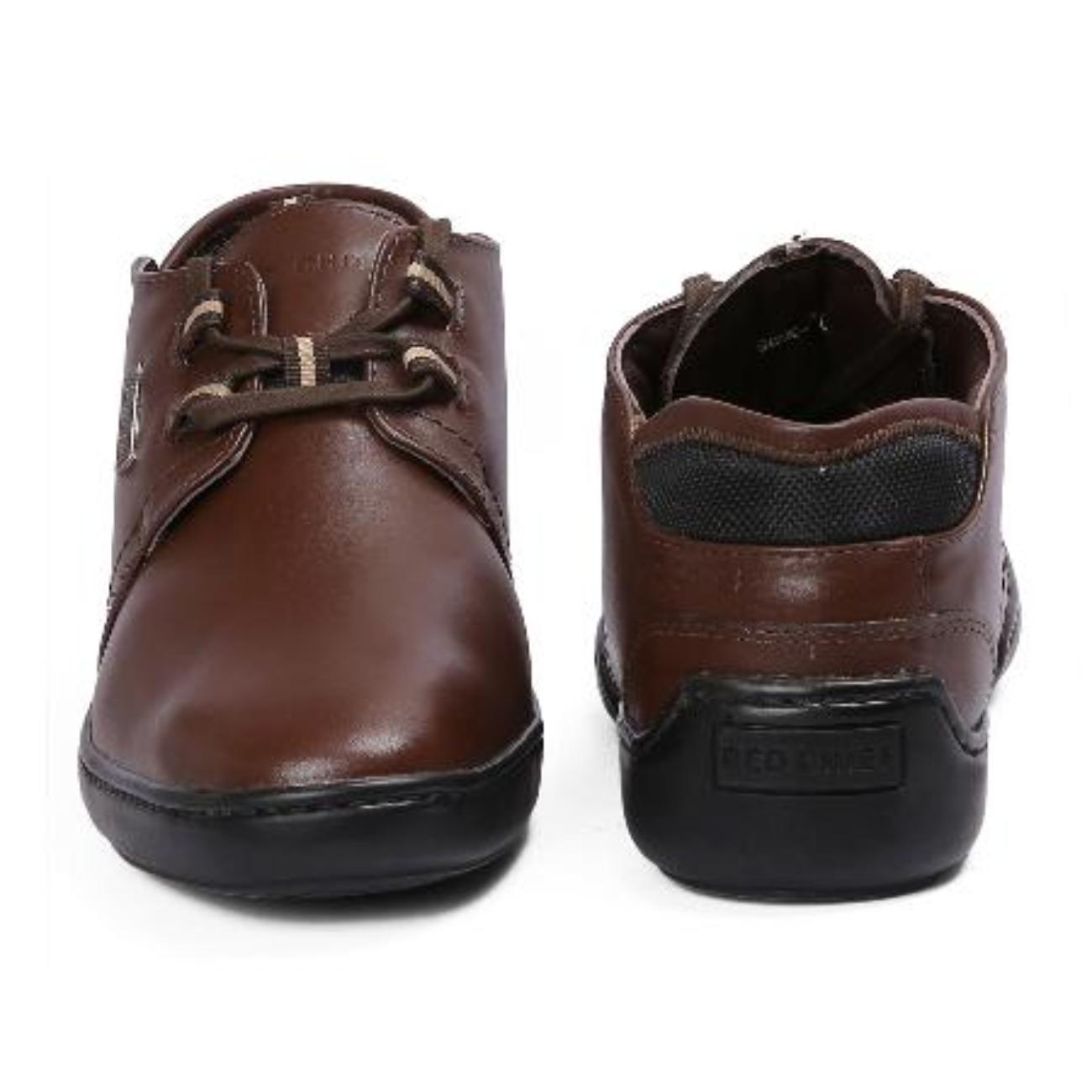 brown casual leather shoes top view