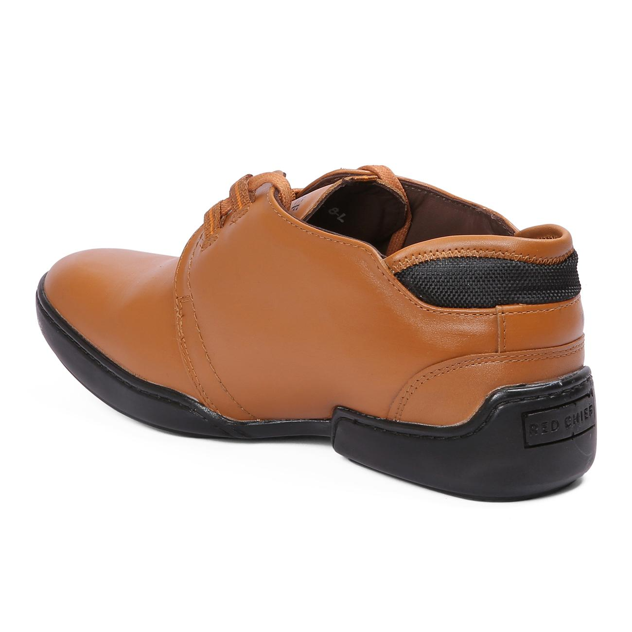 n tan casual leather shoes from behind
