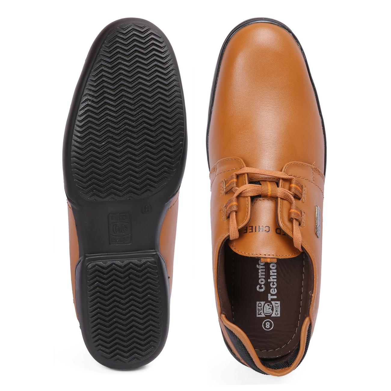 n tan casual leather shoes top view