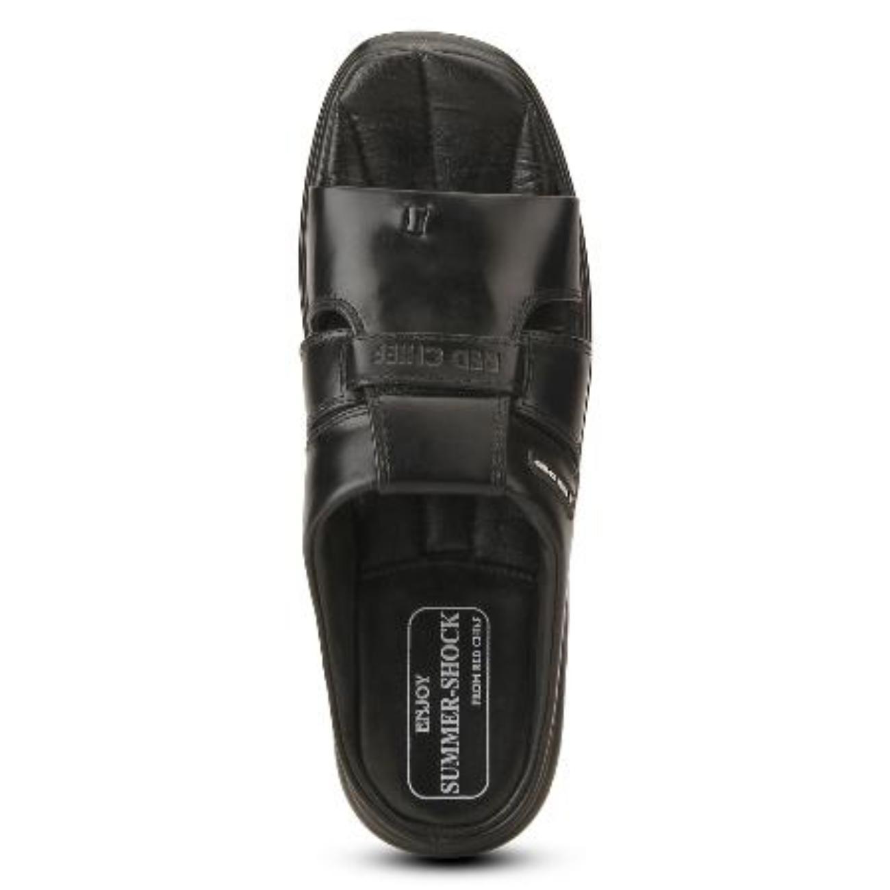black slip-on slippers top view