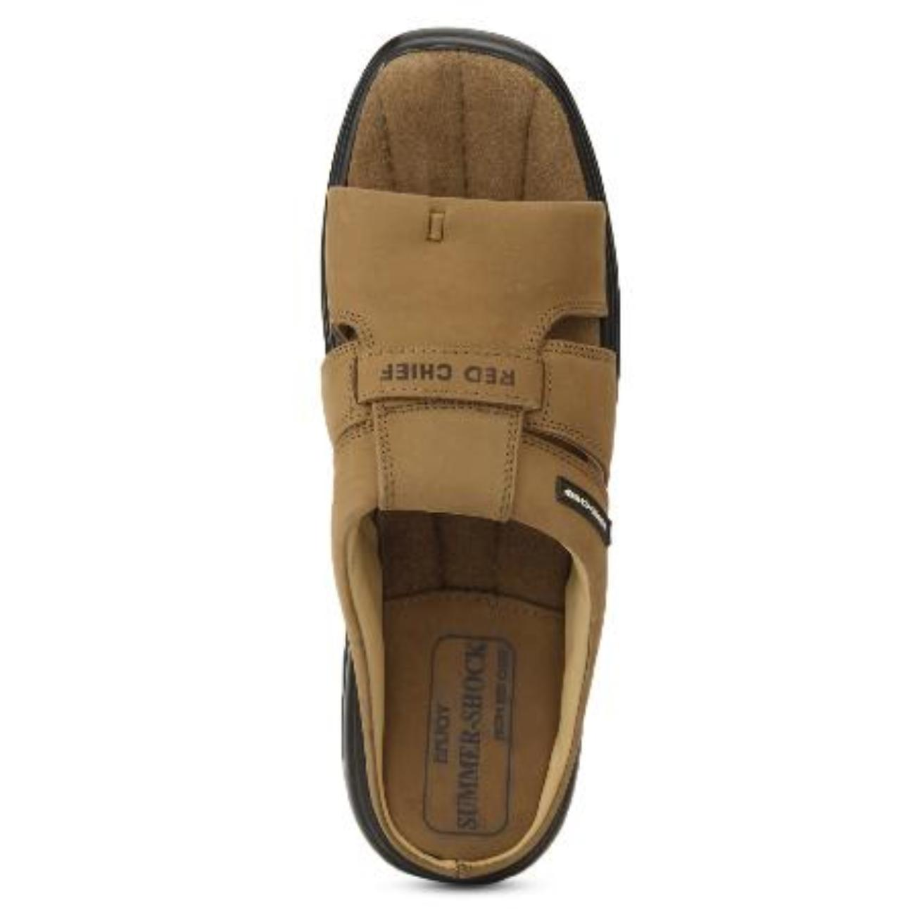 rust slip-on slippers top view