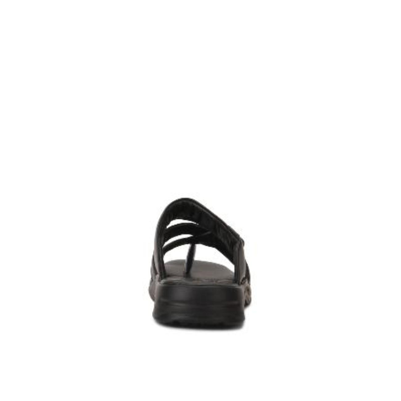 black slip-on slippers from behind