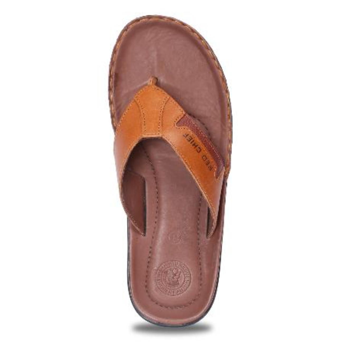 tan slip-on slippers top view