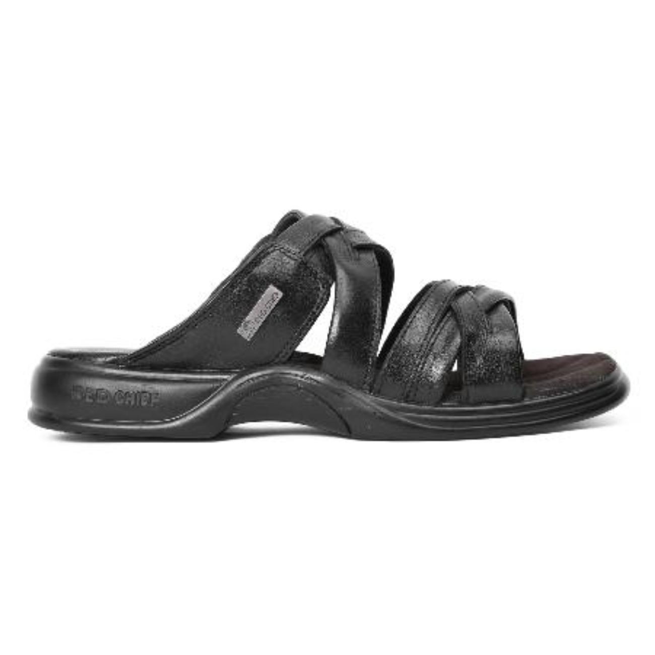 buy black slip-on slippers side view_1