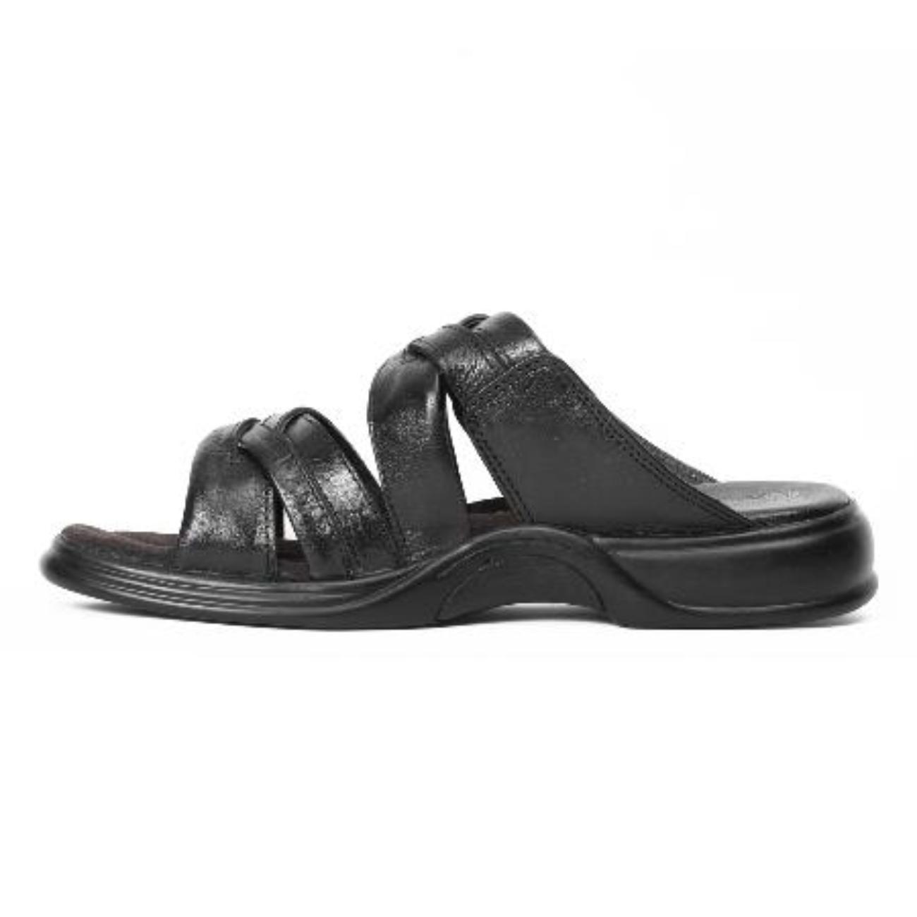black slip-on slippers side view_2