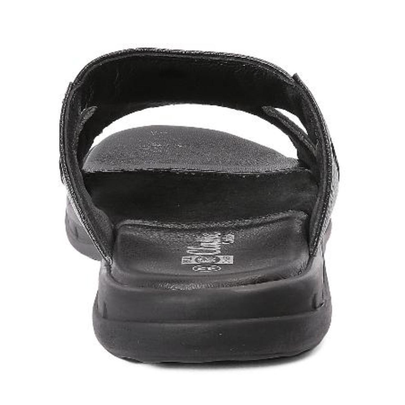 black slip-on sandals from behind
