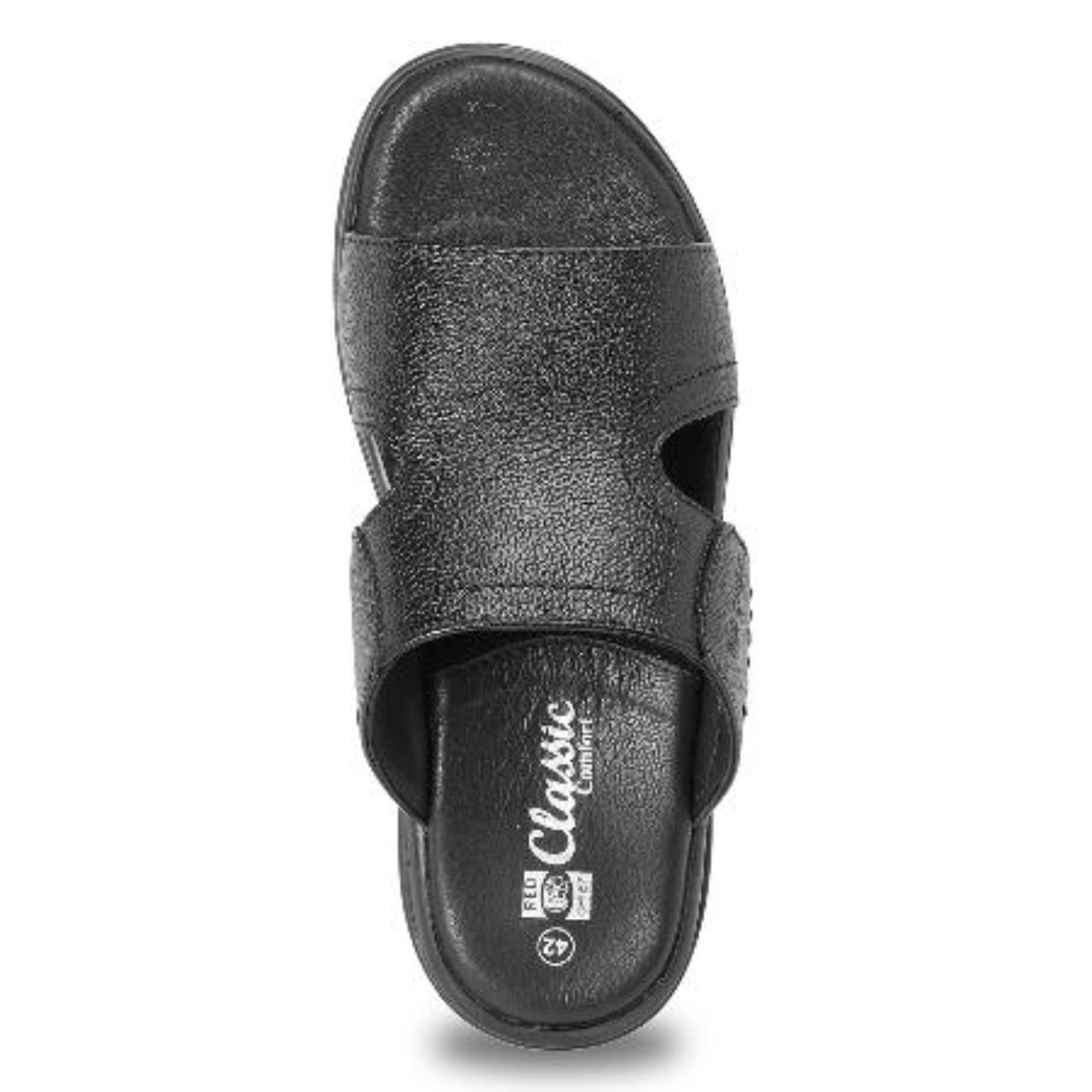 black slip-on sandals top view