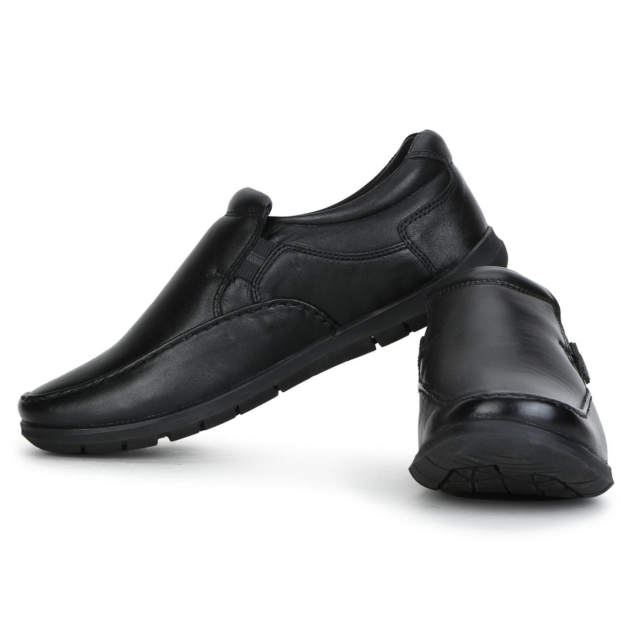 buy black leather slip-on formal shoes side view_1