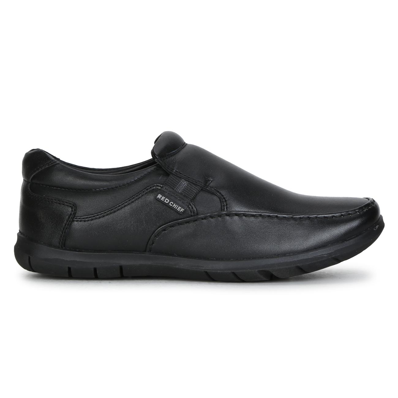 black leather slip-on formal shoes side view_2