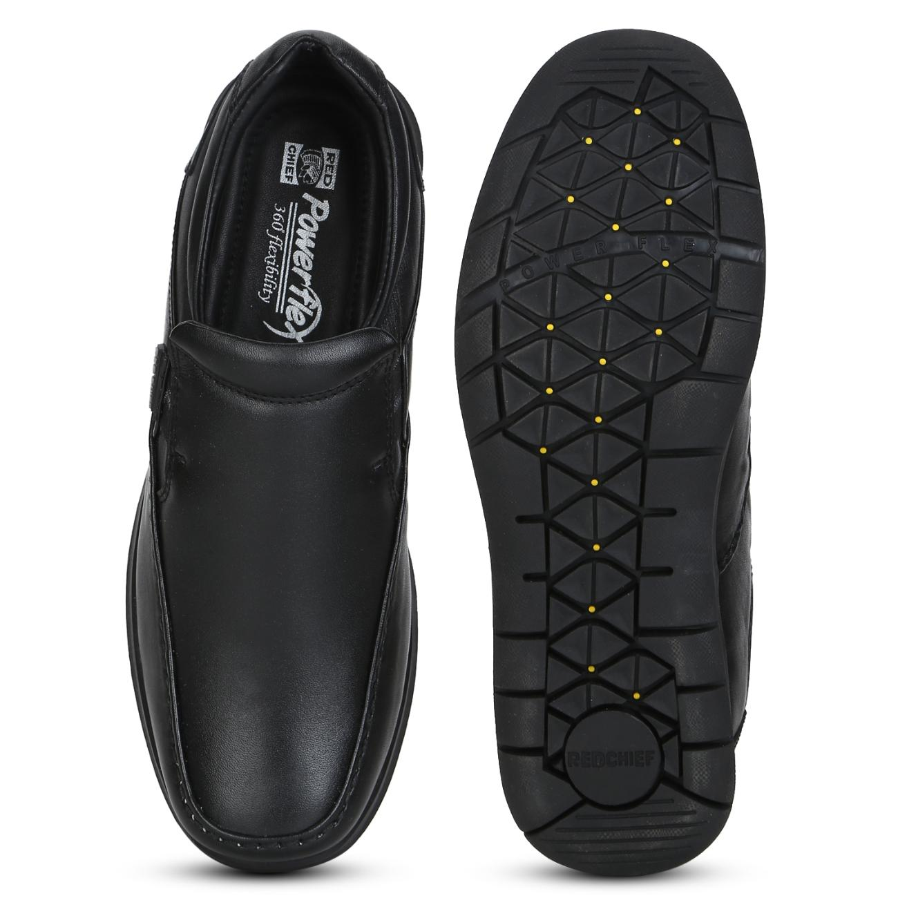 black leather slip-on formal shoes from behind