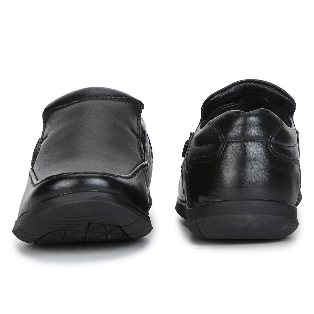 black leather slip-on formal shoes top view