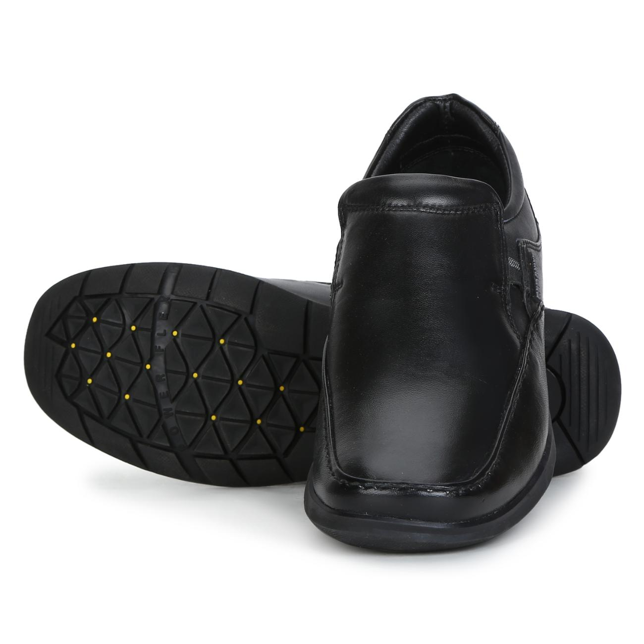 black leather slip-on formal shoes rubber sole