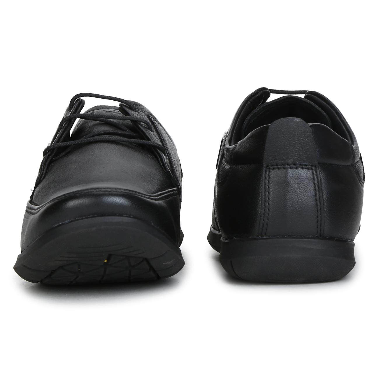 black leather lace up formal shoes top view