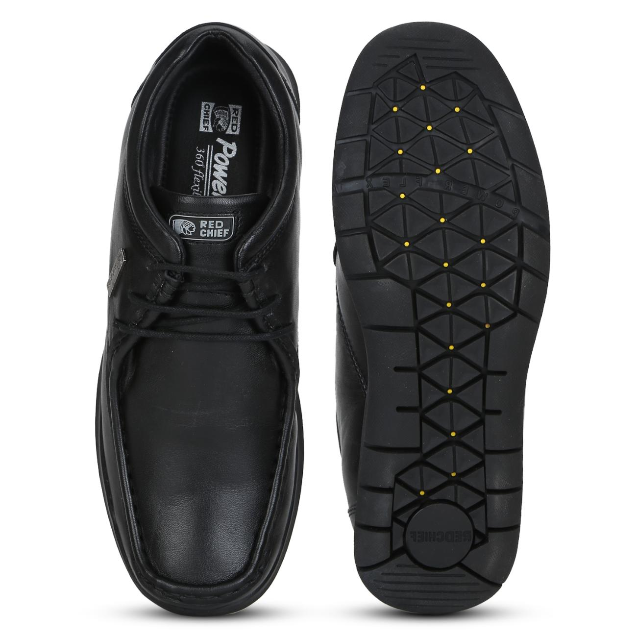 black leather lace up formal shoes from behind