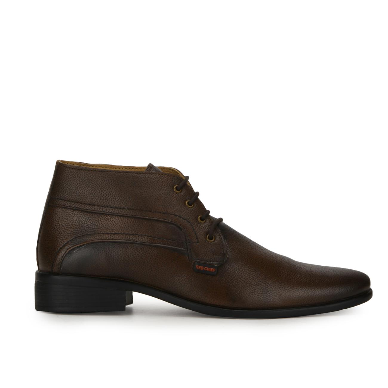buy brown leather lace up formal shoes side view_1