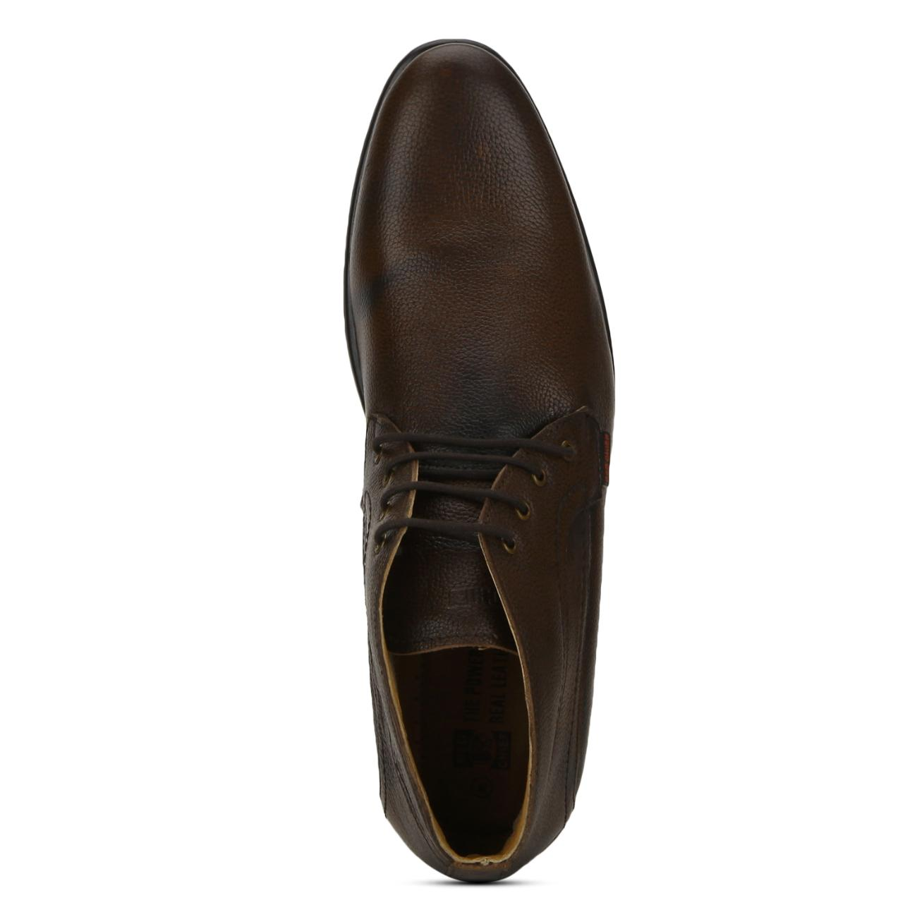 brown leather lace up formal shoes top view