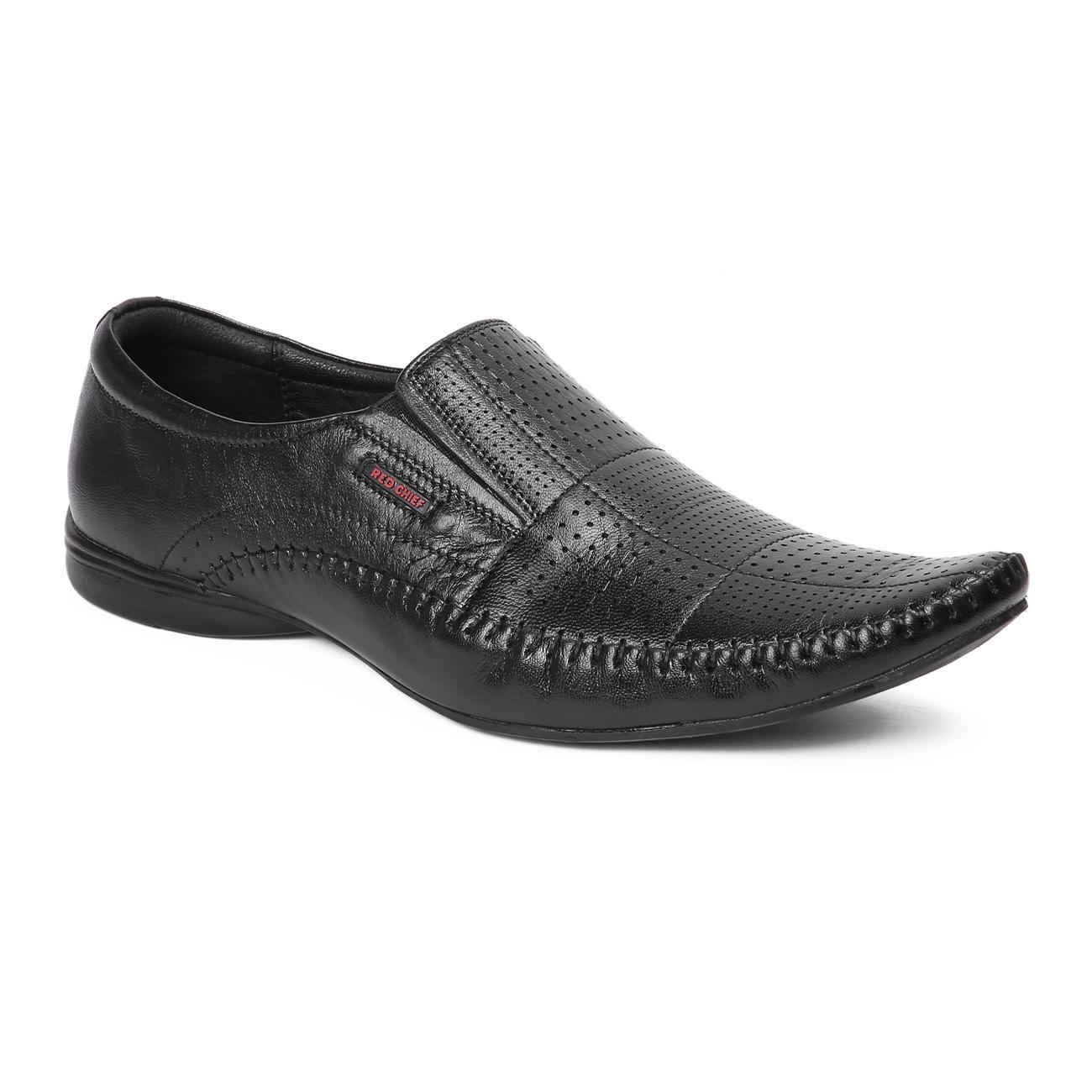 black leather slip-on formal shoes online