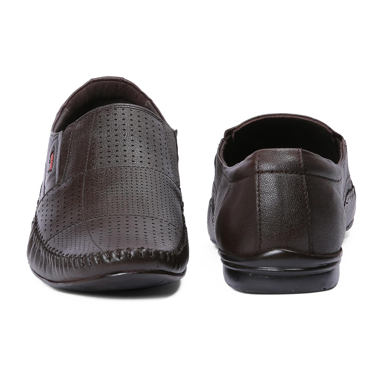 brown leather slip-on formal shoes online