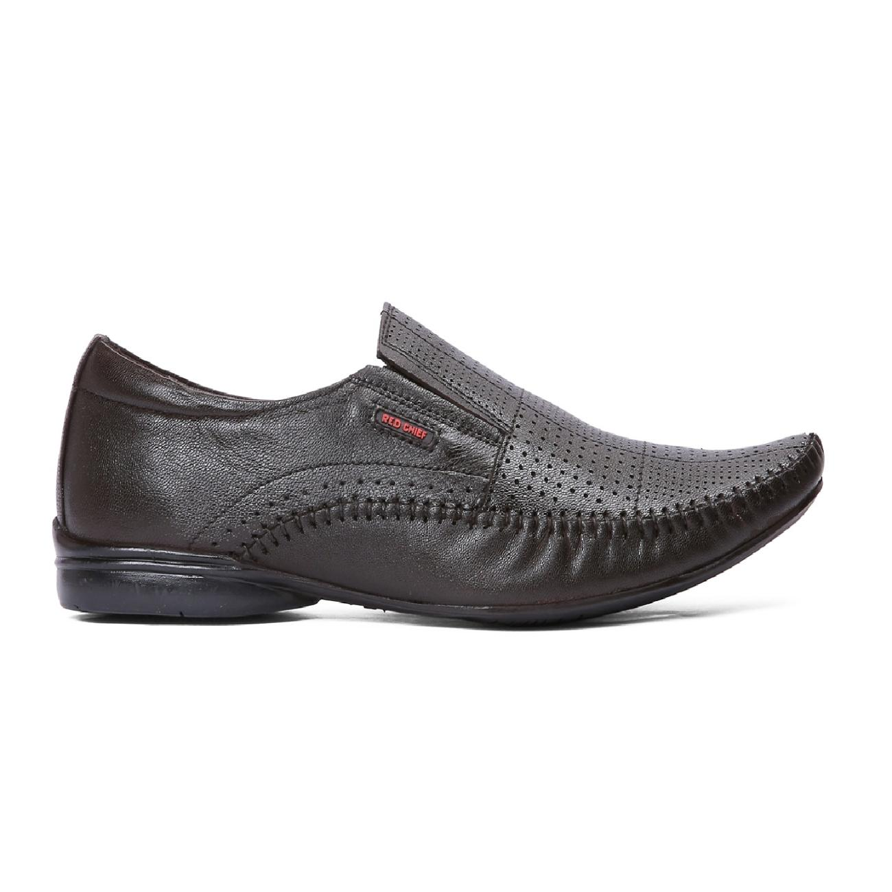 buy brown leather slip-on formal shoes side view_1
