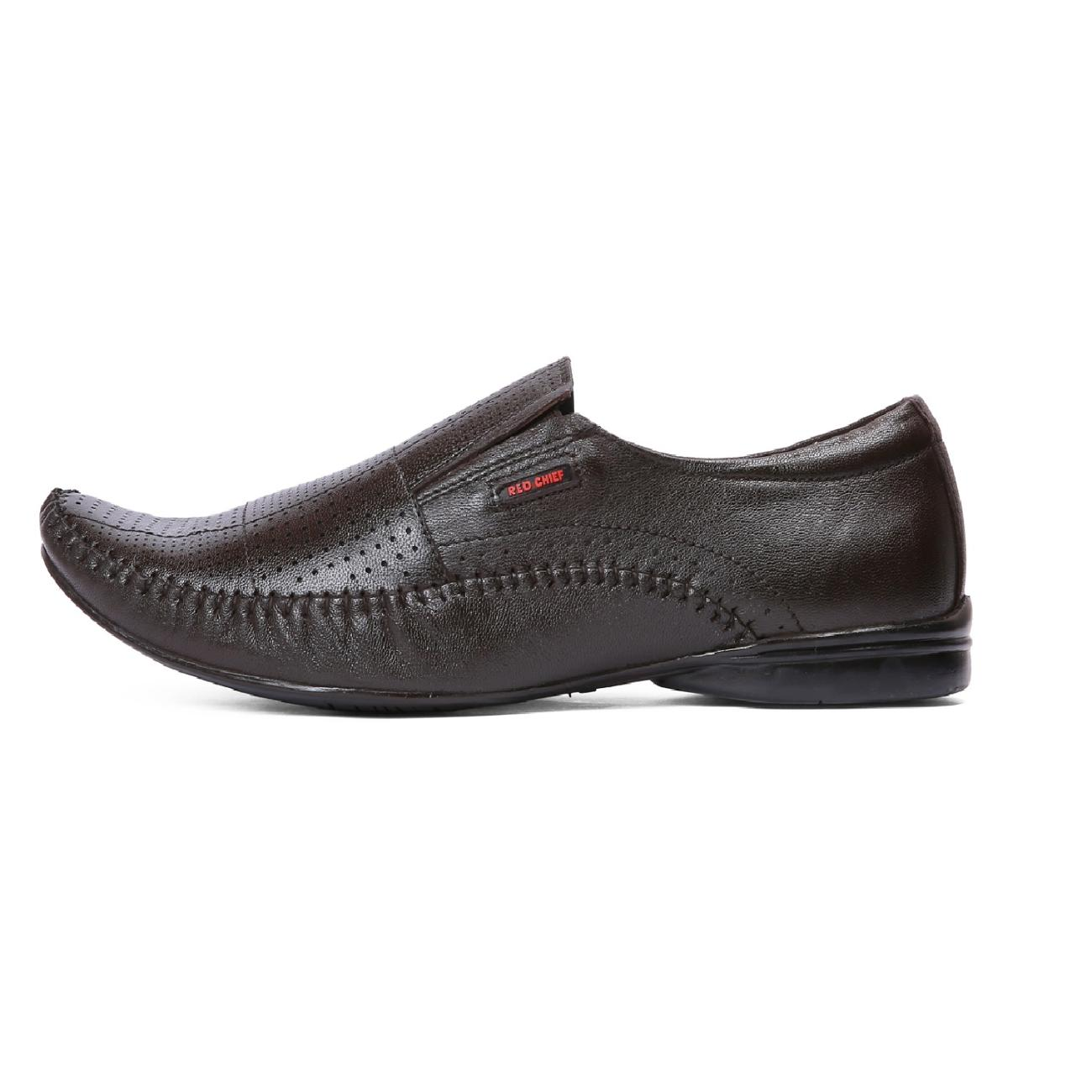 brown leather slip-on formal shoes side view_2
