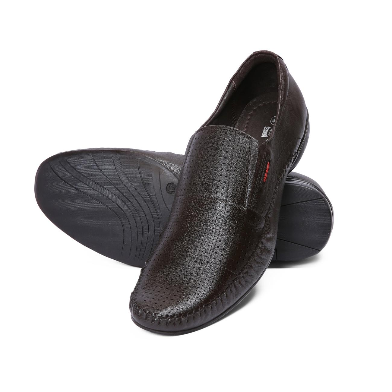brown leather slip-on formal shoes from behind