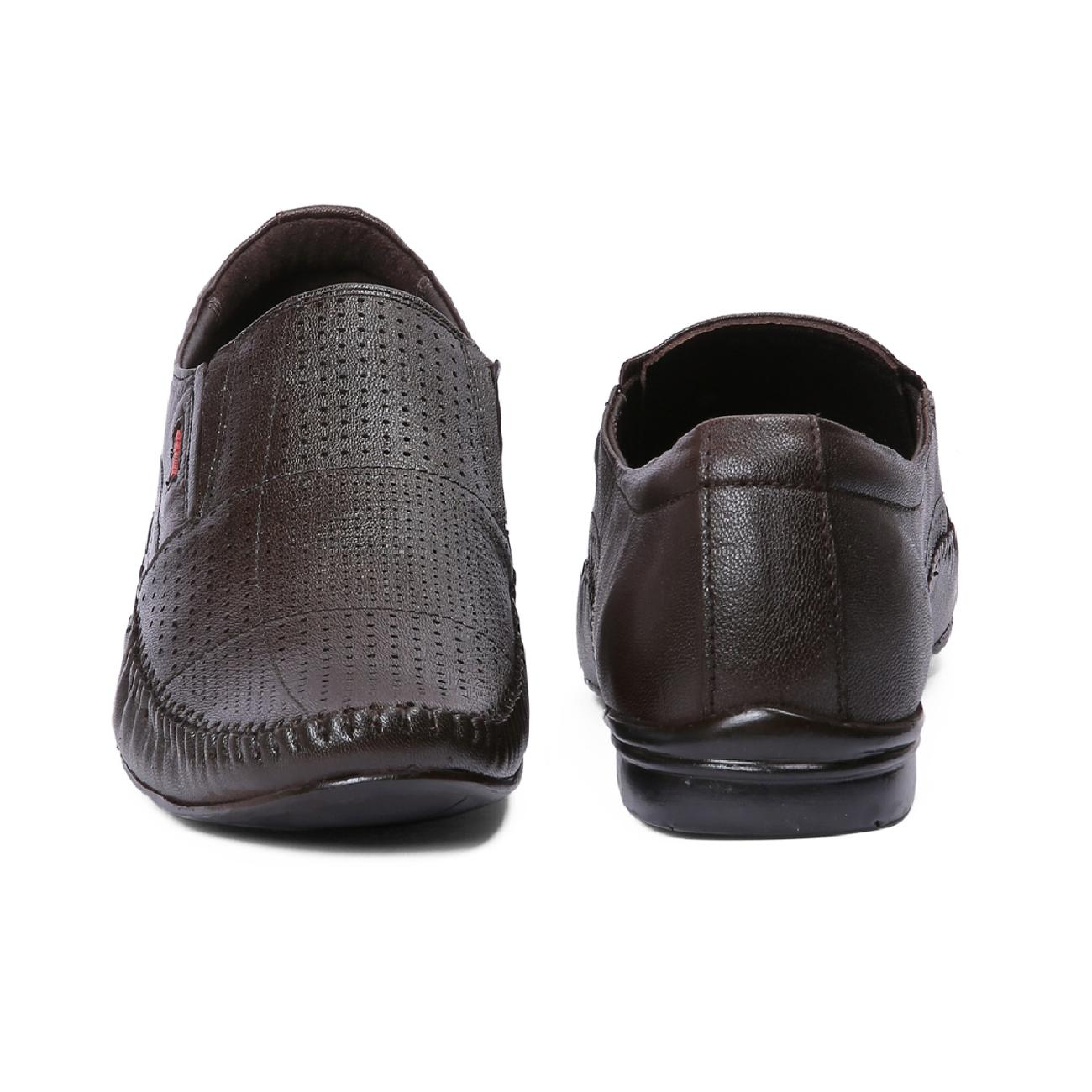 brown leather slip-on formal shoes top view