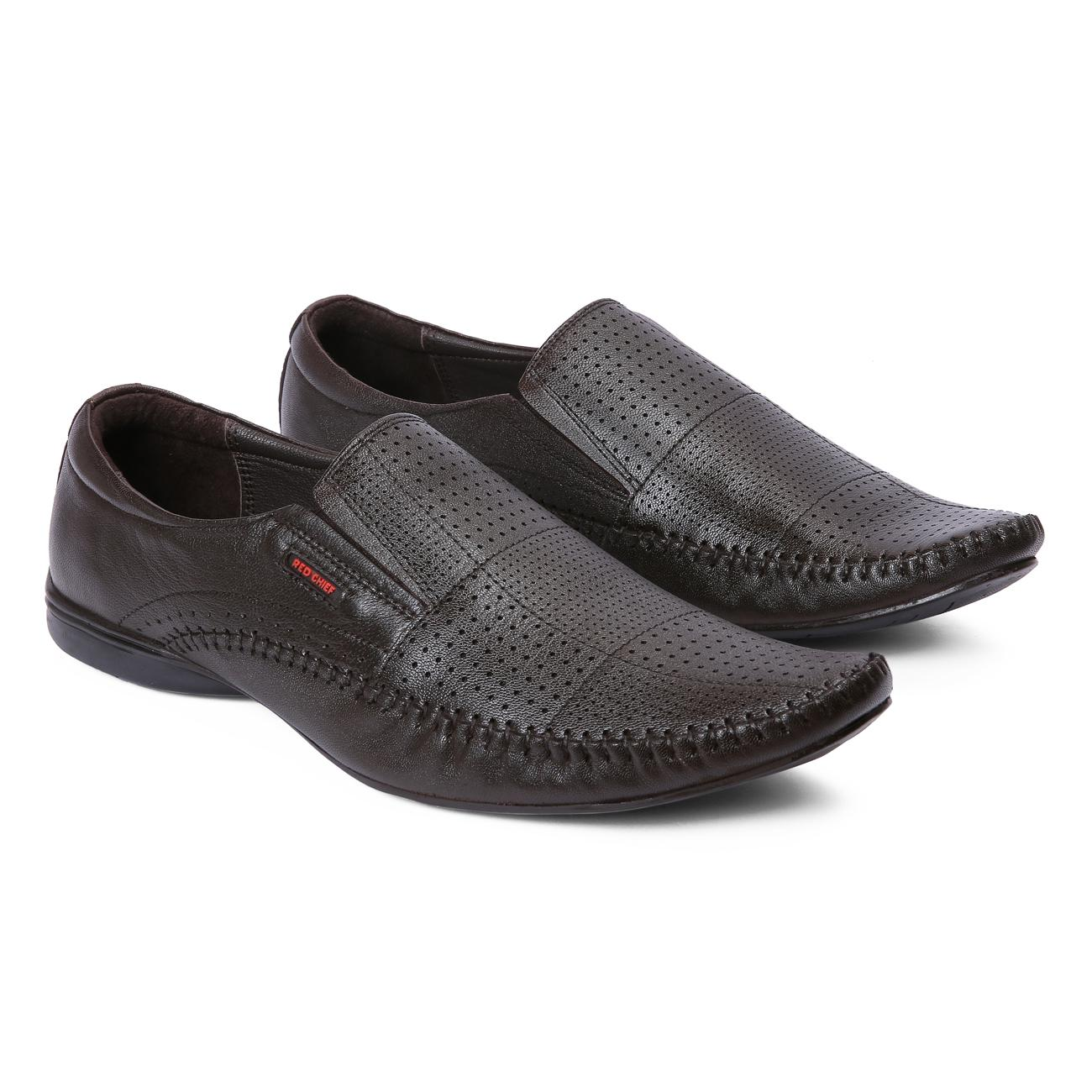 brown leather slip-on formal shoes rubber sole