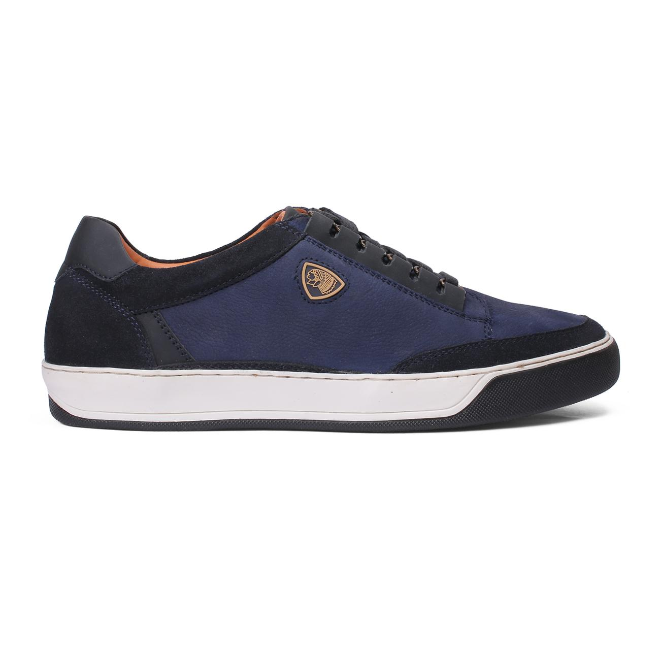 buy blue casual leather shoes side view_1
