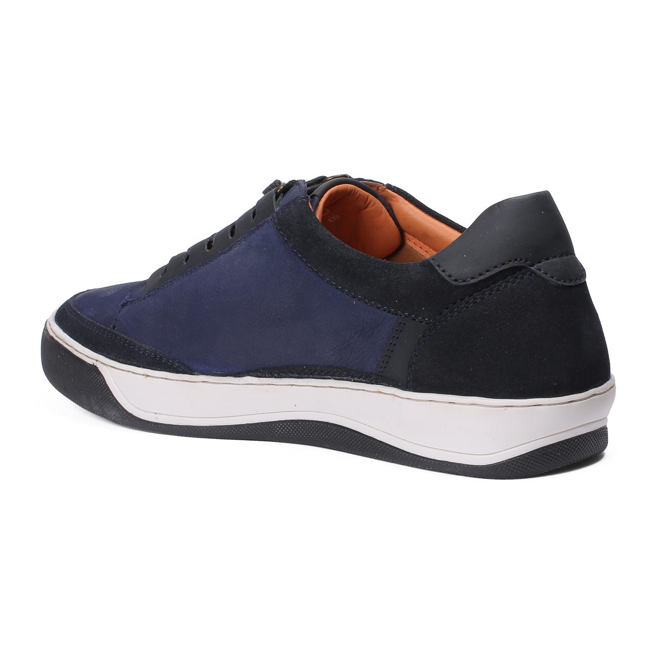 blue casual leather shoes side view_2