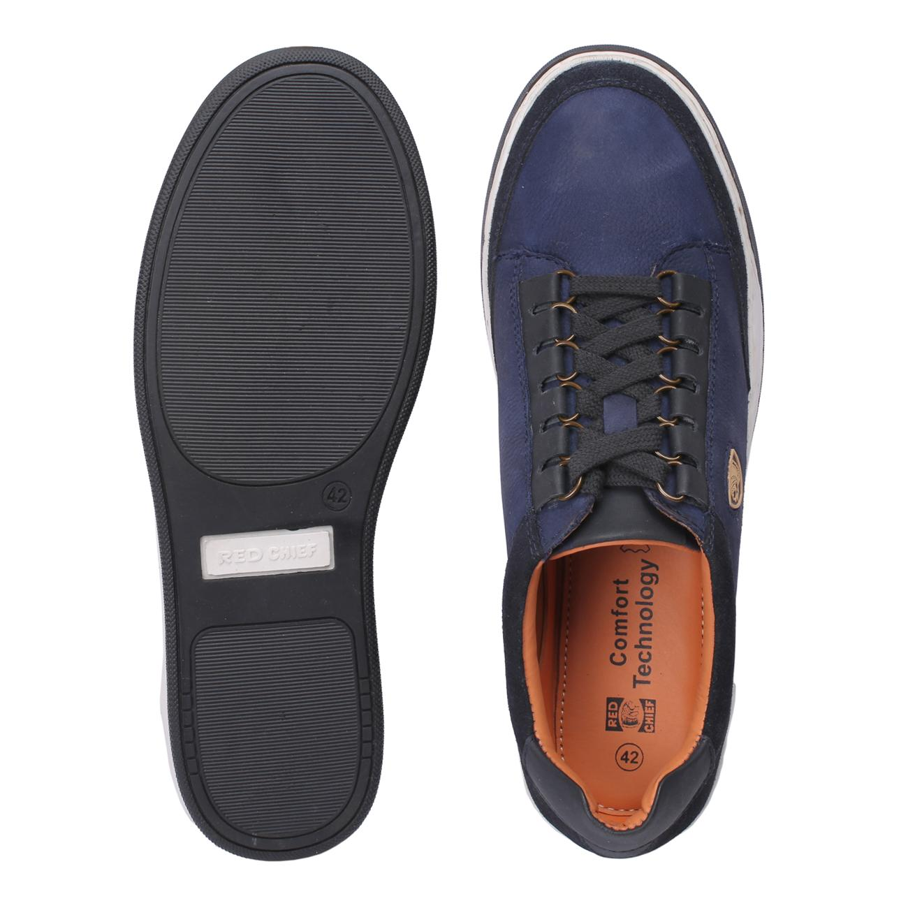 blue casual leather shoes from behind