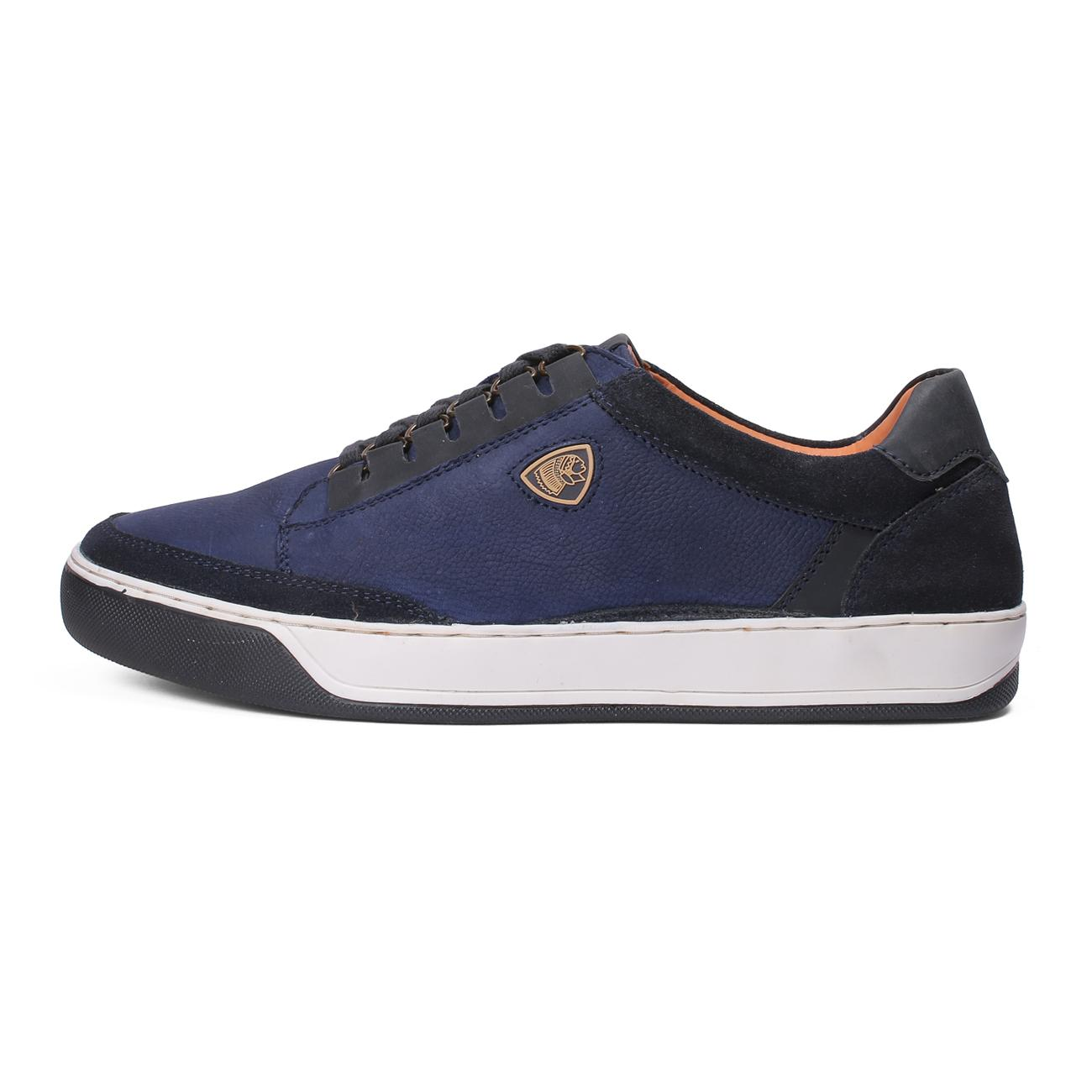blue casual leather shoes top view