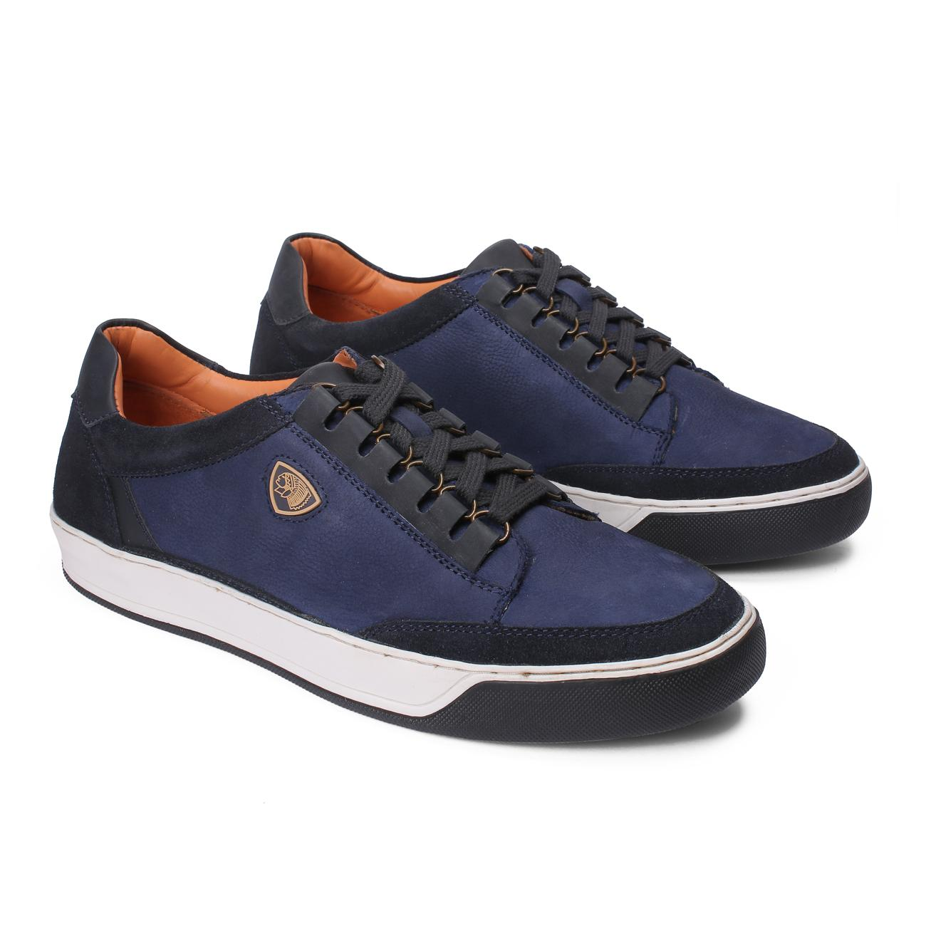 blue casual leather shoes rubber sole