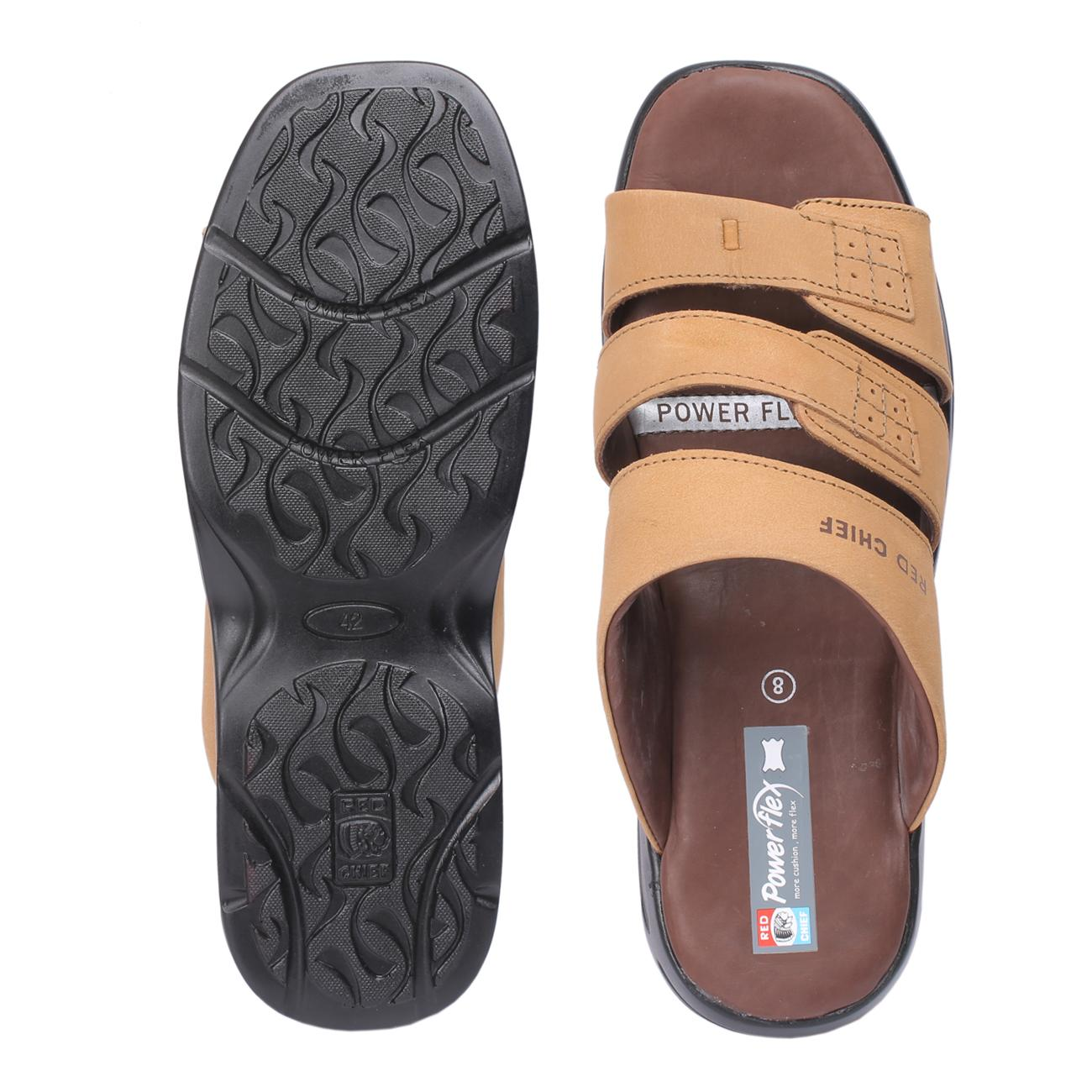 rust slip-on slippers from behind