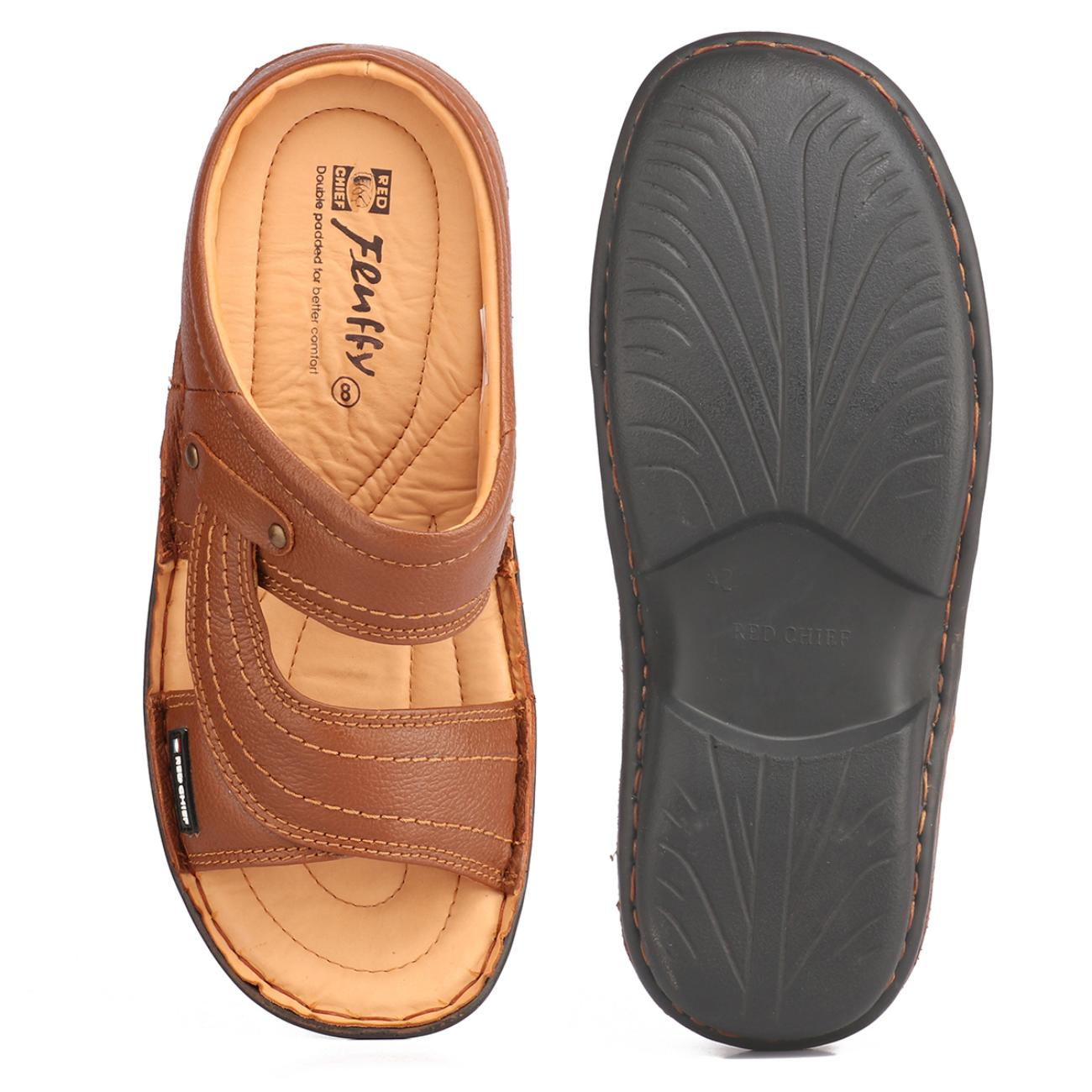 tan slip-on slippers from behind