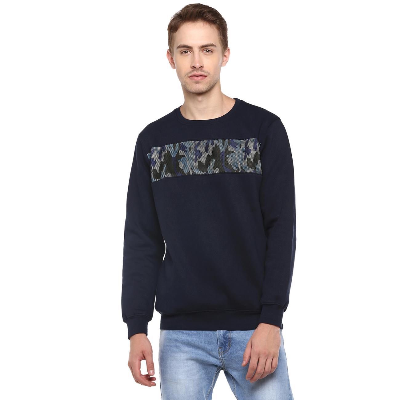 Buy Round Neck Navy Printed Sweater