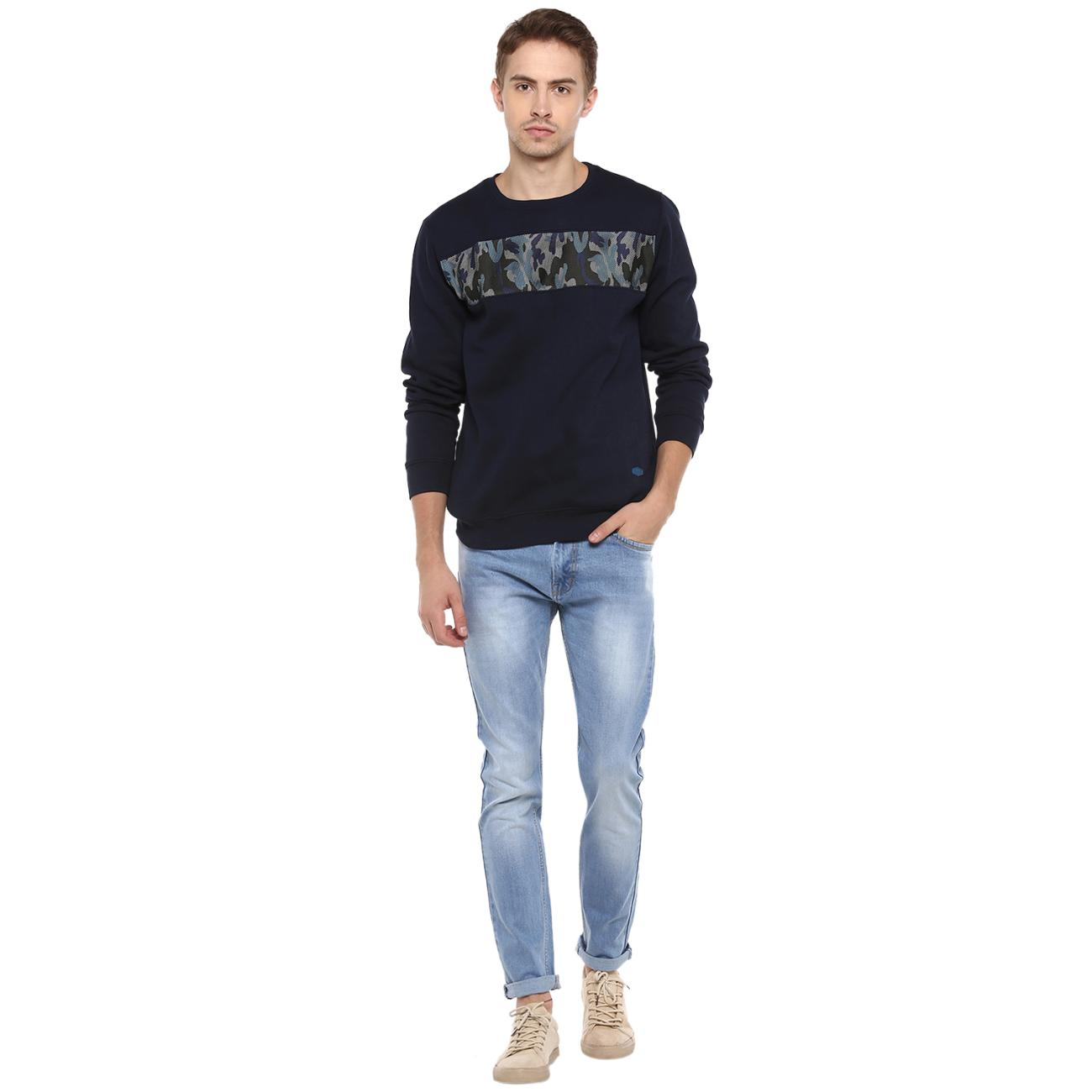 Buy Men's Navy Printed Sweater