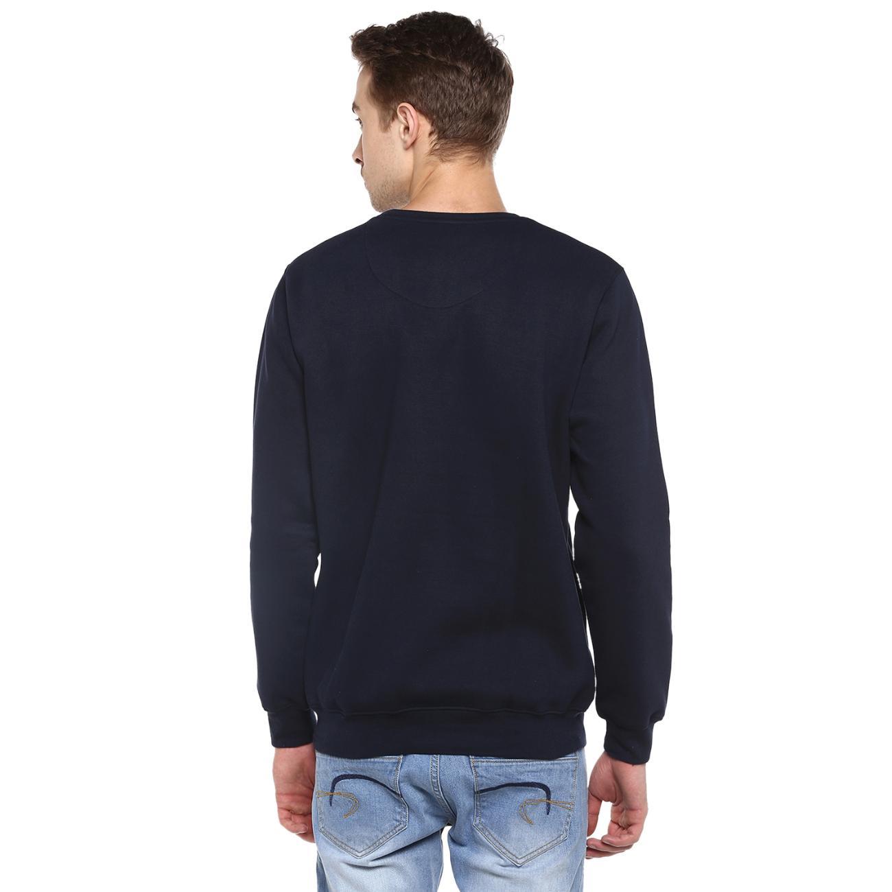 Online Men's Round Neck Navy Printed Sweater