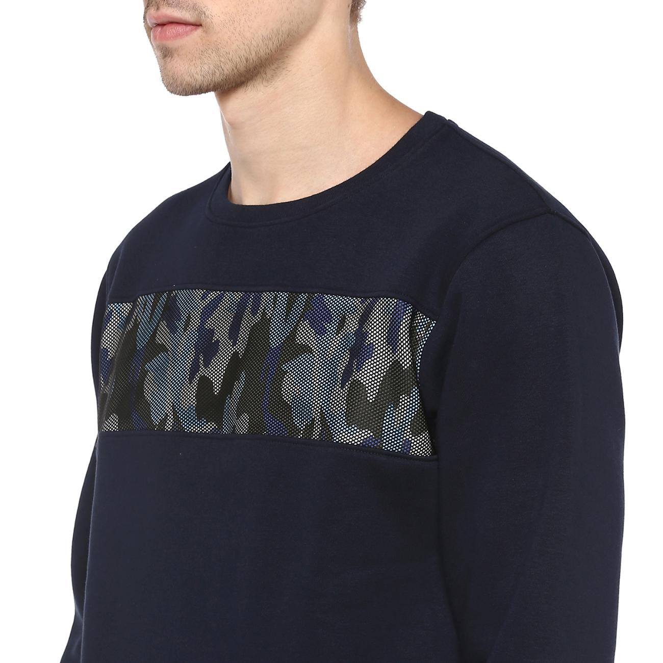 Shop Men's Round Neck Navy Printed Sweater