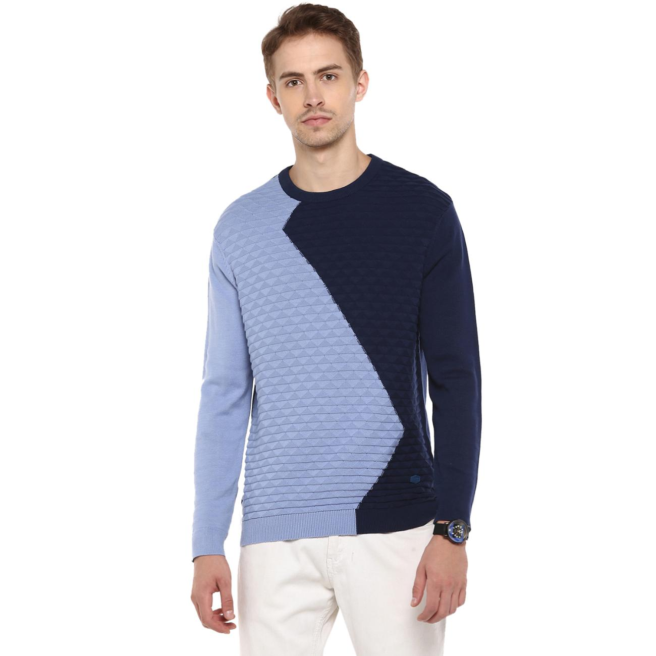 Online Blue Colour Blocked Sweater at Red Chief