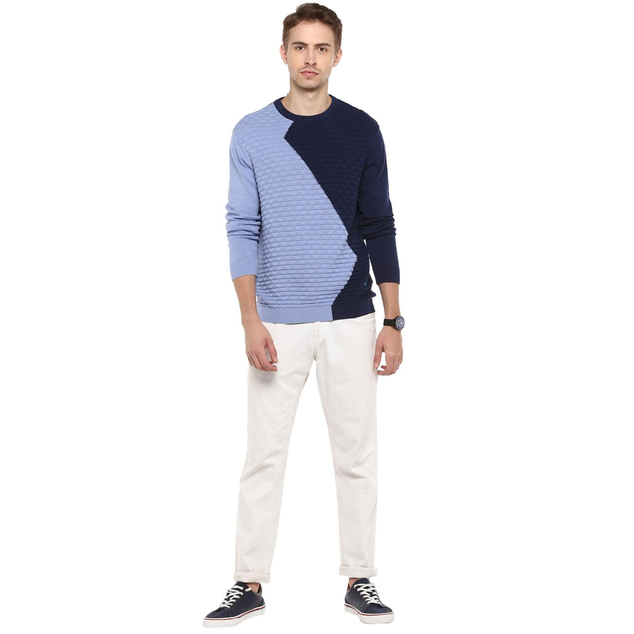 Buy Blue Colour Blocked Sweater