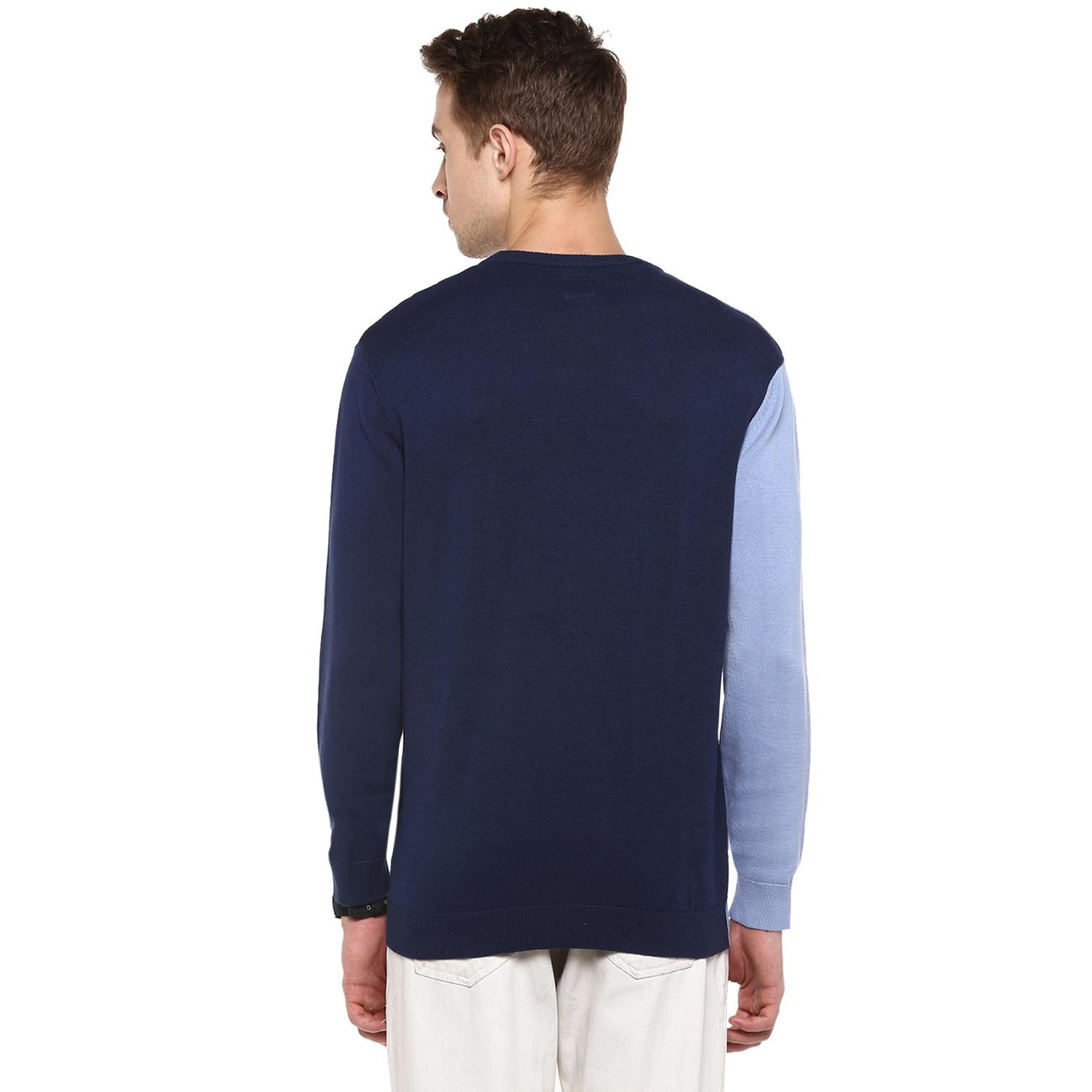 Buy Online Blue Colour Blocked Sweater