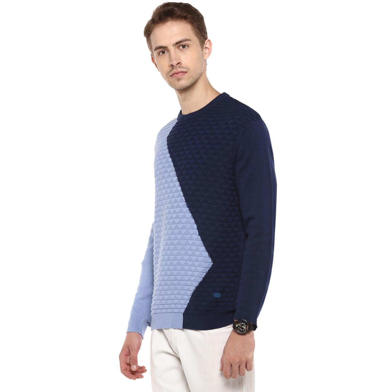Red Chief's Blue Colour Blocked Sweater
