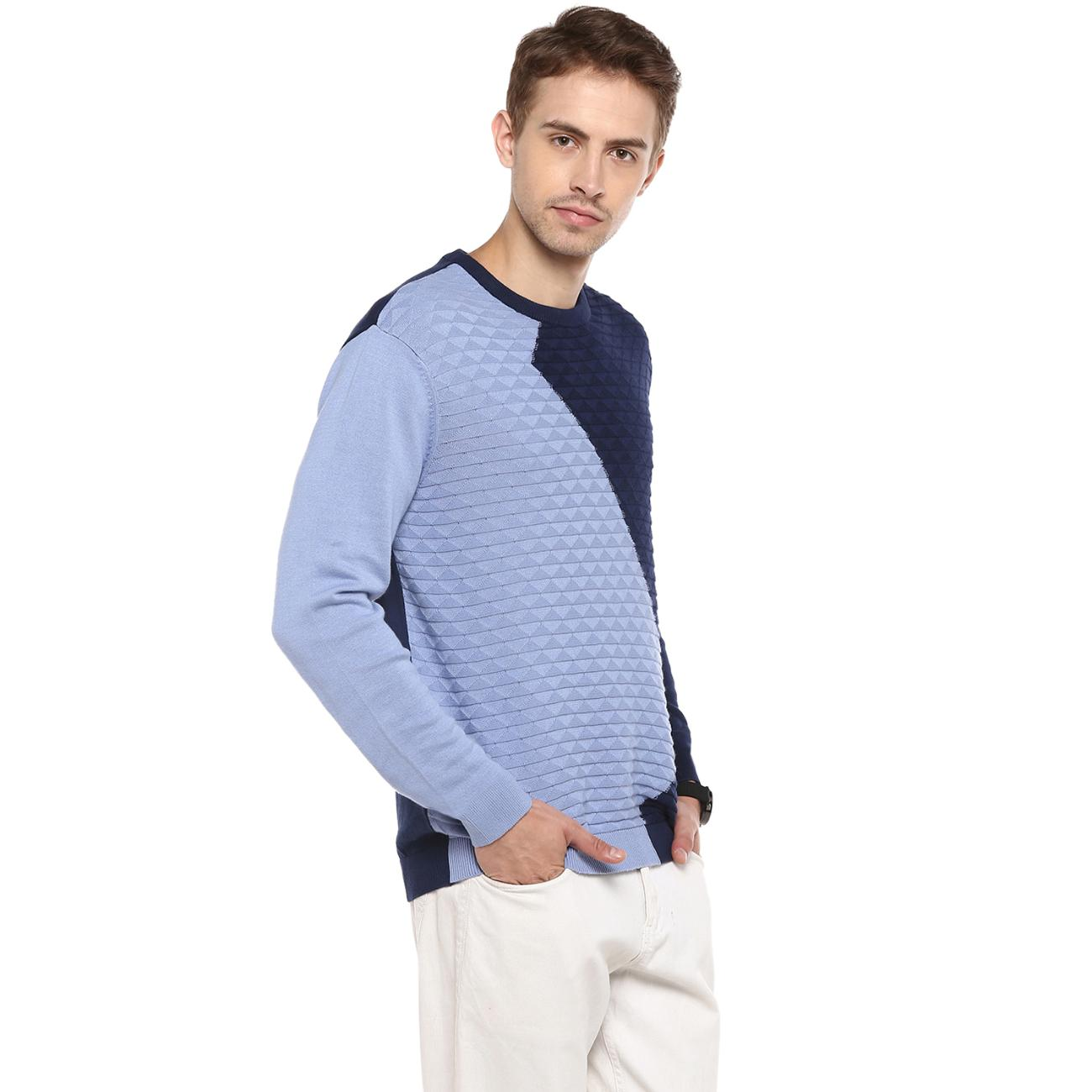 Shop Blue Colour Blocked Sweater from Red Chief