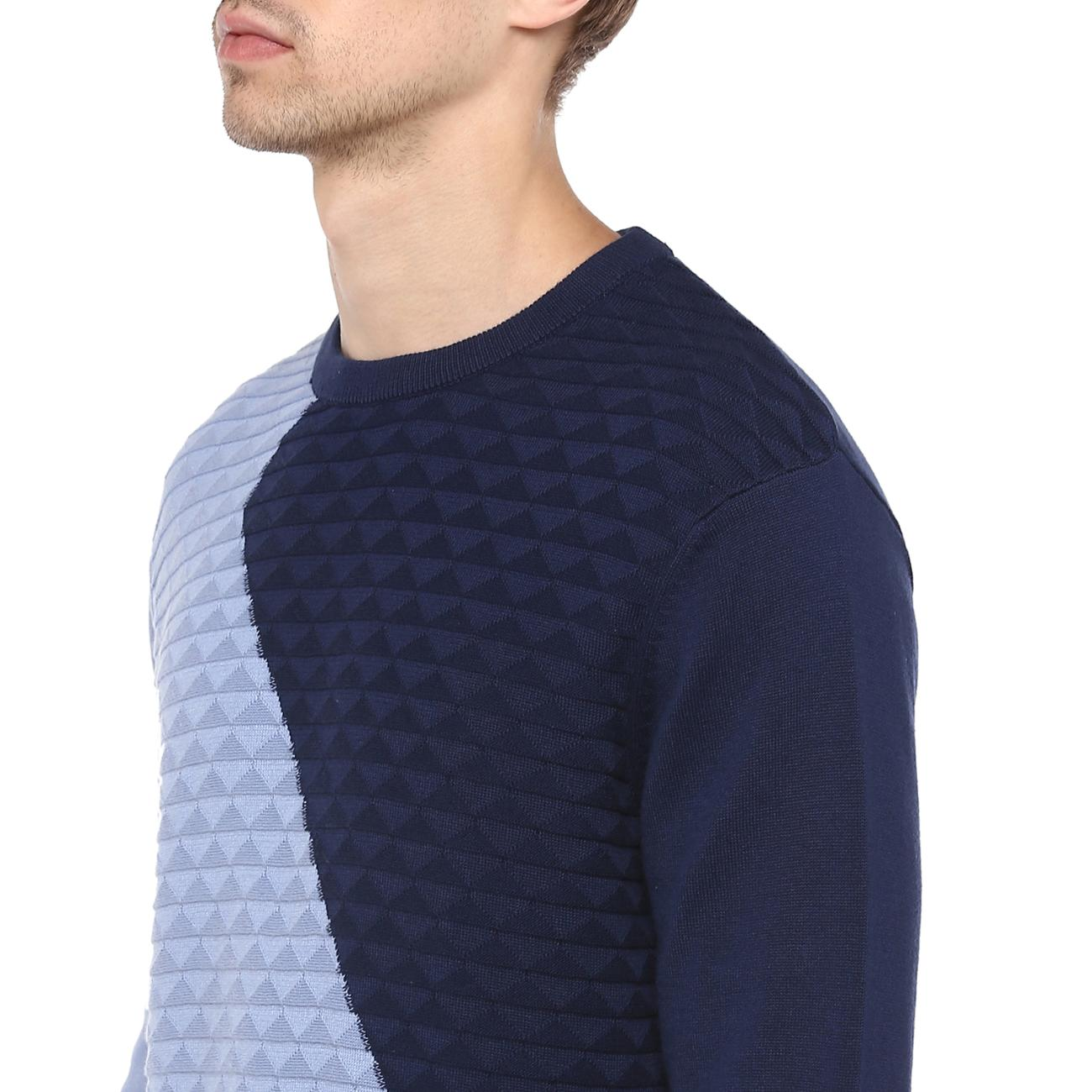 Purchase Blue Colour Blocked Sweater Online
