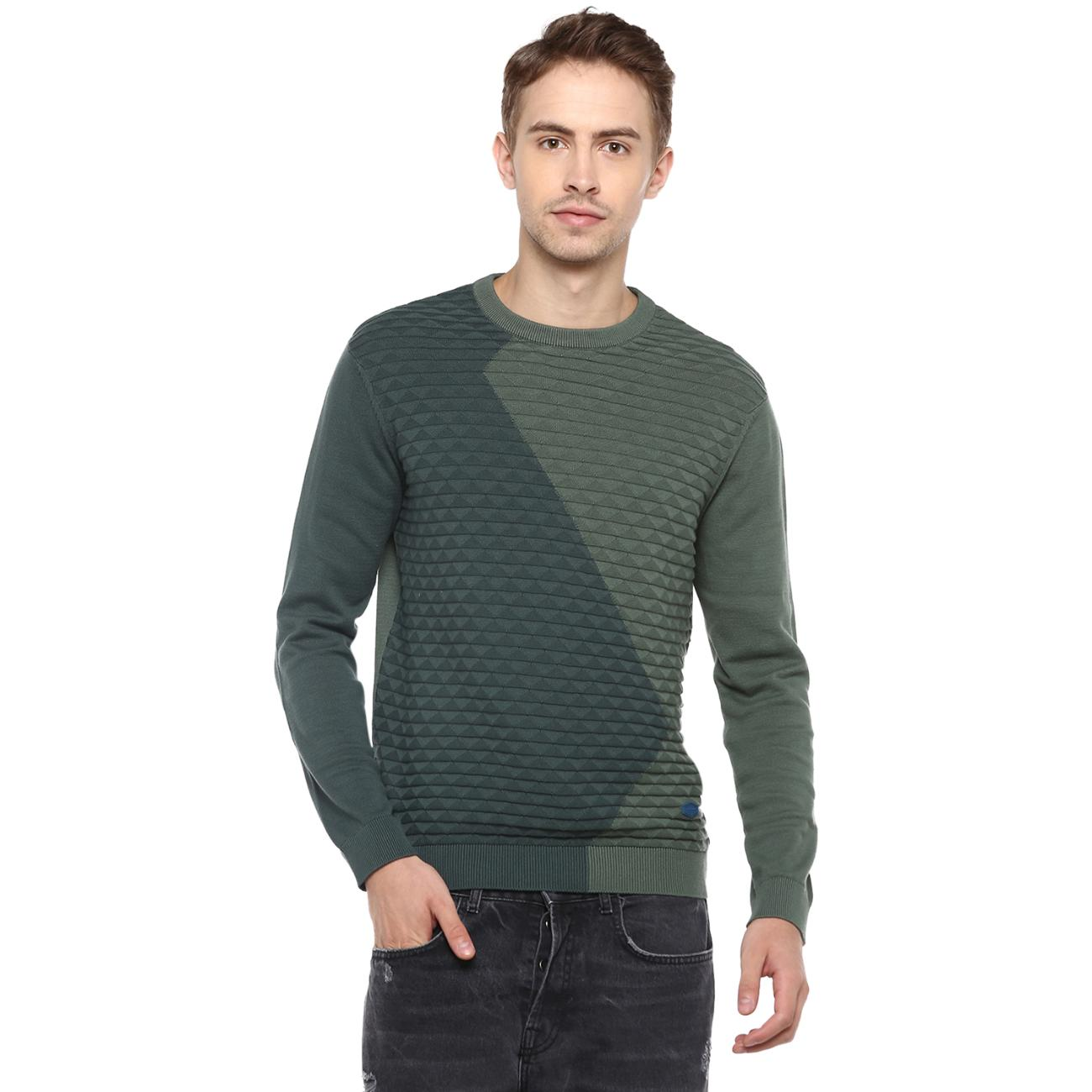 Buy Men's Green Colourblocked Sweater